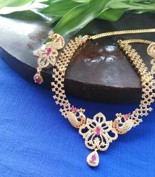 Buy Beautiful high gold plated stones and ruby necklace set curated-jewelry online