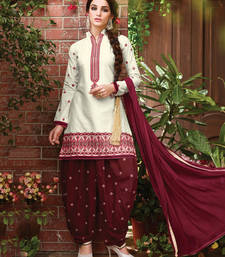 Buy Off white cotton embroidered unstitched salwar with dupatta patiala-salwar online
