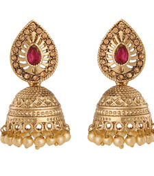 Buy Traditional Red Stones & Pearl Studded Golden Jhumki Earrings danglers-drop online