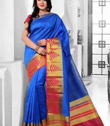 Buy Blue hand woven dupion silk saree With Blouse dupion-saree online