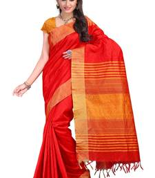 Buy red hand woven raw silk saree With Blouse silk-saree online