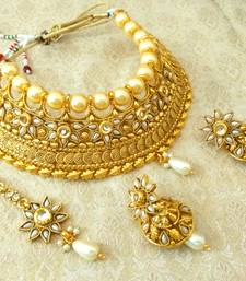 Buy Stunning White Bridal Pearl Choker Necklace Set With Maang Tikka bridal-set online