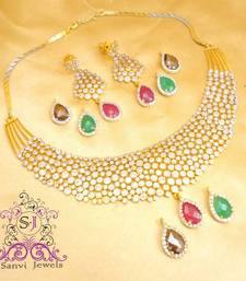 Buy American Diamond Changeable Drops necklace Set  Necklace online