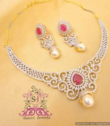 Buy Beautiful American Diamond Ruby Necklace Necklace online