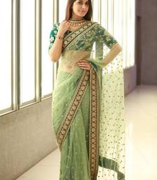 Buy light green embroidered net saree With Blouse net-saree online