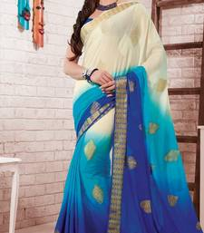 Buy sky_blue embroidered crepe saree With Blouse crepe-saree online
