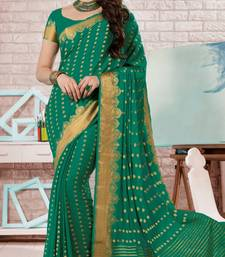 Buy dark_green embroidered crepe saree With Blouse crepe-saree online
