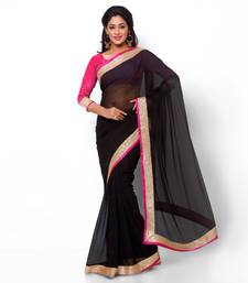 Buy black plain dupion saree With Blouse viscose-saree online