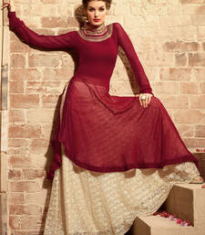 Buy Maroon georgette embroidered semi stitiched salwar with dupatta indowestern online