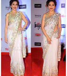 Buy white embroidered net saree With Blouse madhuri-dixit-saree online