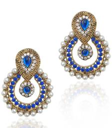 Buy Pearl traditional ethnic Indian traditional blue stone jewelry earring b332b danglers-drop online