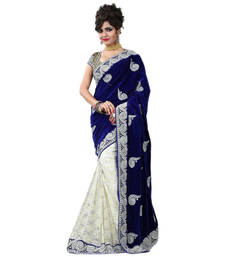 Buy White embroidered brasso saree With Blouse brasso-saree online