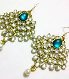 Buy Green kundan and pearl drop earrings danglers-drop online