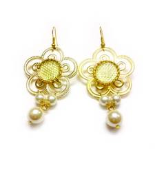 Light Brown Flower With Pearl Drop Earring For Women shop online