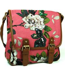 Buy Pink Hand Embroidered Cross Body Bag handbag online
