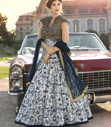 Buy Blue  and  cream pure bhagalpuri digital print printed semi stitiched salwar with dupatta party-wear-gown online