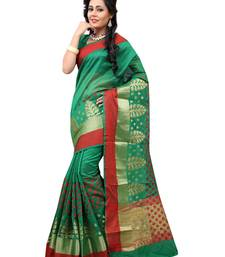 Buy Green woven cotton saree With Blouse cotton-saree online