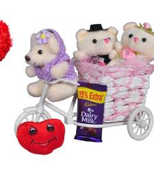 Buy Pink cycle teddybear love heart valentine gift set gifts-for-girlfriend online