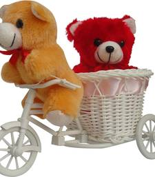 Buy Cute couple teddy sitting in pink cycle valentine gift set gifts-for-girlfriend online