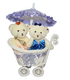 Buy Cute blue trolly with couple teddy gift set gifts-for-girlfriend online