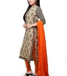 Buy Beige and black printed cotton readymade salwar with dupatta readymade-suit online