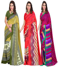 Buy multicolor printed rayon saree with blouse sarees-combo-sari online