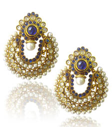 Buy Ethnic Blue Pearl Polki Earrings by ADIVA ABCHI0BCD004 danglers-drop online