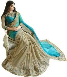 Buy blue embroidered silk saree With Blouse heavy-work-saree online