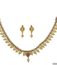Buy ANTIQUE GOLDEN STONE STUDDED MANGO TEMPLE THEME NECKLACE SET (RED GREEN)  - PCAN4037 Necklace online