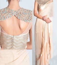Buy beige embroidered georgette saree With Blouse party-wear-saree online