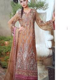 Buy Brown georgette embroidered semi stitched salwar with dupatta pakistani-salwar-kameez online