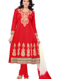 Buy Fabdeal Red Colored Pure Cotton Semi-Stitched Salwar Kameez semi-stitched-salwar-suit online