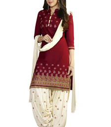 Red soft cotton embroidered semi stitiched salwar with dupatta shop online