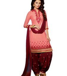 Buy Peach georgette hand woven unstitched salwar with dupatta punjabi-suit online