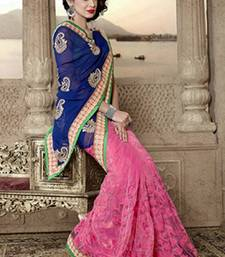 Buy Pink and blue mix match Embroidered Saree georgette-saree online