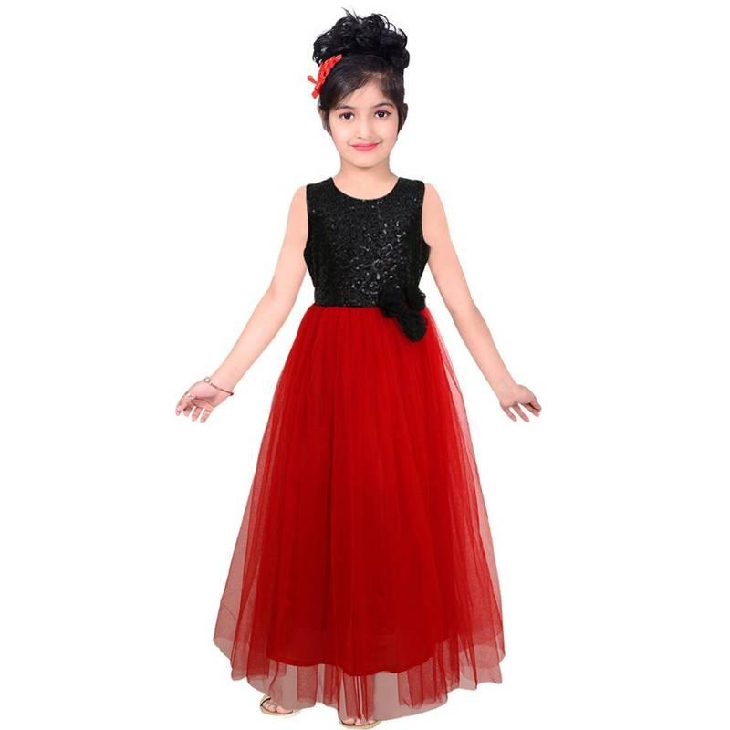 Buy Red Sequins Satindesigner Part Wear Embroidery Kids