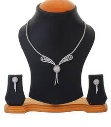 Buy Silver Rhodium Plated Party Wear Elegant Necklace Set For Women necklace-set online
