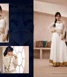 Buy White georgette embroidered semi stitiched party wear gowns party-wear-gown online