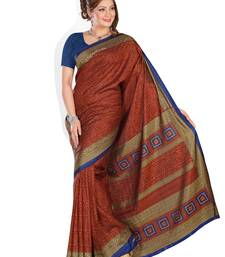 Buy maroon printed art silk saree With Blouse bhagalpuri-silk-saree online