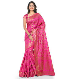 Buy Pink woven tussar silk saree With Blouse tussar-silk-saree online