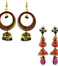 Buy Beautiful meenakari earrings combo of two danglers-drop online