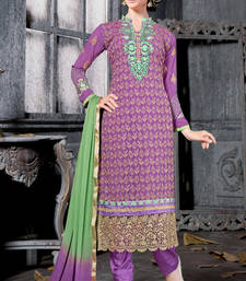 Buy Voilet georgette embroidered unstitched salwar with dupatta pakistani-salwar-kameez online