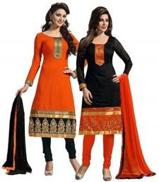 Buy Black and orange cotton embroidered unstitched salwar with dupatta salwar-combo online