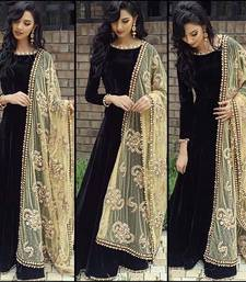 Buy black silk embroidered unstitched salwar with dupatta party-wear-salwar-kameez online