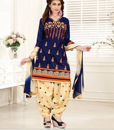 Buy Blue cotton embroidered semi stitched salwar with dupatta cotton-salwar-kameez online