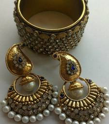 Buy Designer Fancy Earings with Traditional Bangles bangles-and-bracelet online