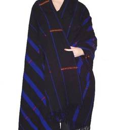 Hand-woven shawl from nagaland-black, blue & red shop online
