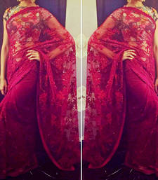Buy red embroidered net saree With Blouse deepika-padukone-saree online