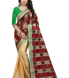 Buy multicolor embroidered jacquard saree With Blouse tissue-saree online