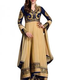 Buy Blue georgette embroidered semi stitched salwar with dupatta party-wear-salwar-kameez online